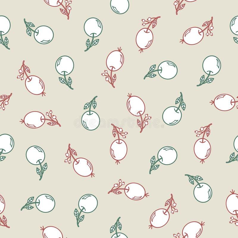 Безшовная картина с ягодами пинка doodle и яблоками аквамарина на светлом - серая предпосылка иллюстрация вектора
