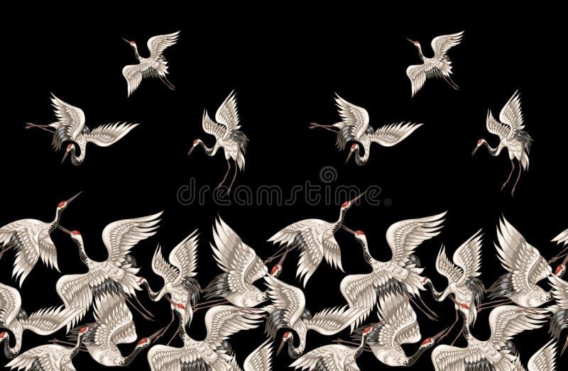 Безшовная картина с японскими белыми кранами в различных представлениях для вашей вышивки дизайна, тканях, печатая иллюстрация вектора