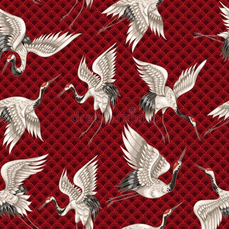 Безшовная картина с японскими белыми кранами в различных представлениях для вашей вышивки дизайна, тканях, печатая иллюстрация штока