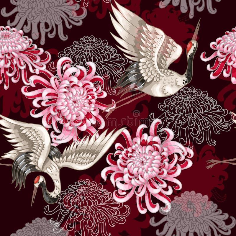 Безшовная картина с японскими белыми кранами и хризантемы на предпосылке красного вина для ткани конструируют иллюстрация вектора
