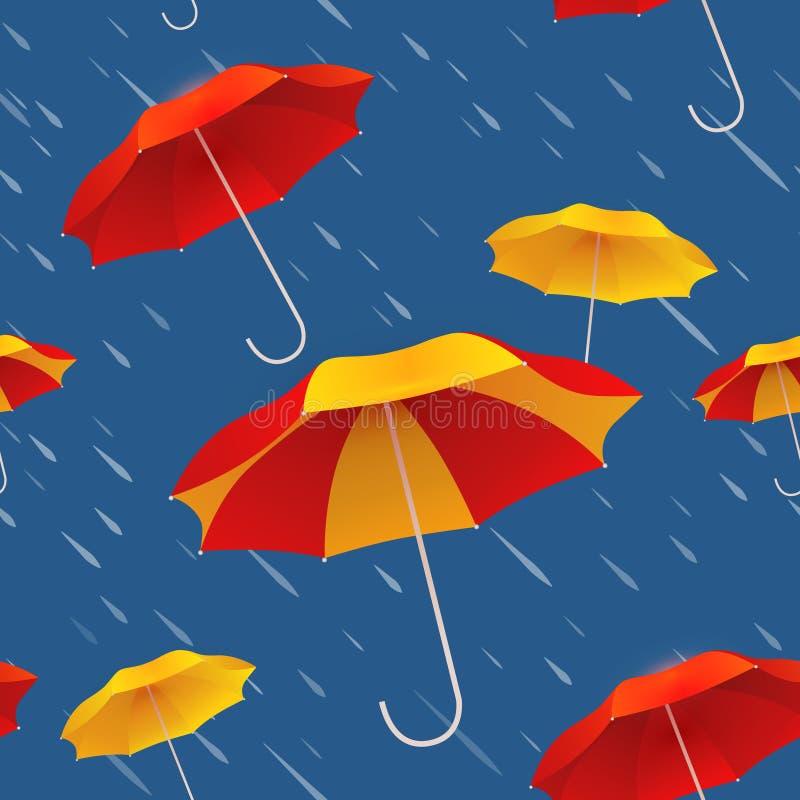Безшовная картина с яркими красочными зонтиками и дождем иллюстрация вектора