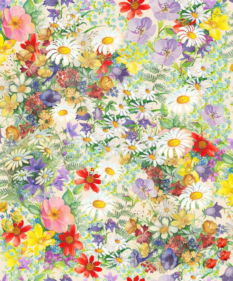 Безшовная картина с яркими пестроткаными декоративными цветками и листьями на предпосылке vihte бесплатная иллюстрация