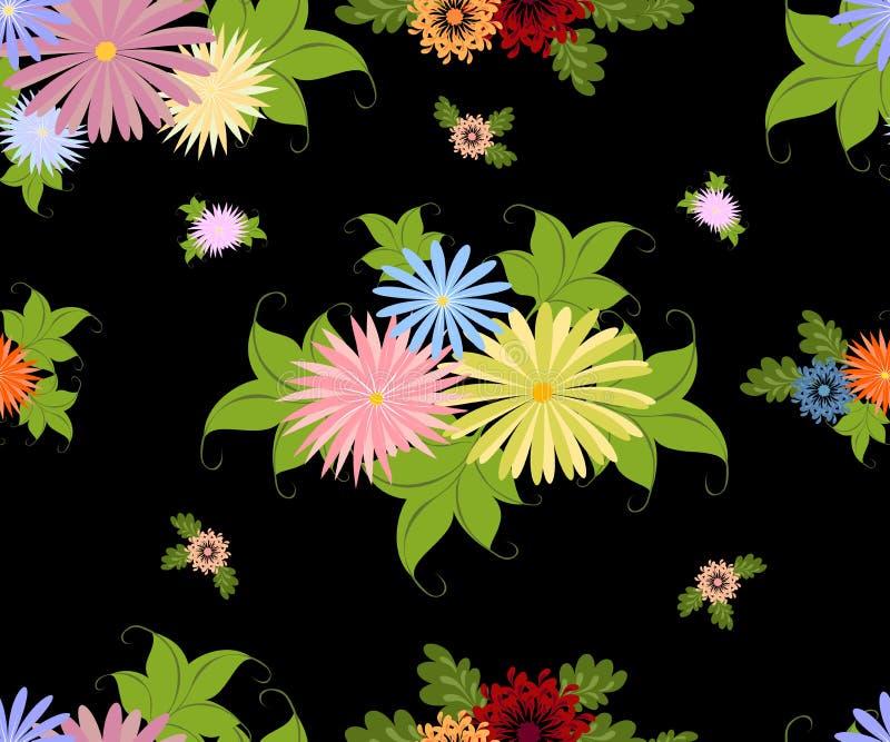 Безшовная картина с яркими пестроткаными цветками на однотиповой черной предпосылке Иллюстрация вектора EPS10 иллюстрация вектора