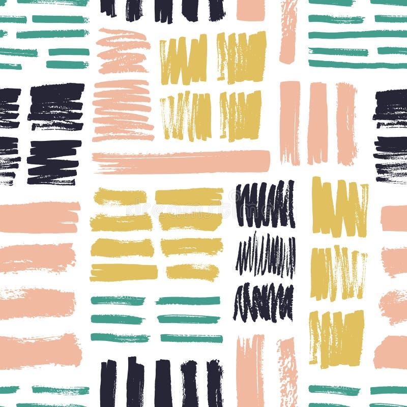 Безшовная картина с яркими покрашенными ходами щетки на белой предпосылке Творческий фон с грубыми метками краски или бесплатная иллюстрация