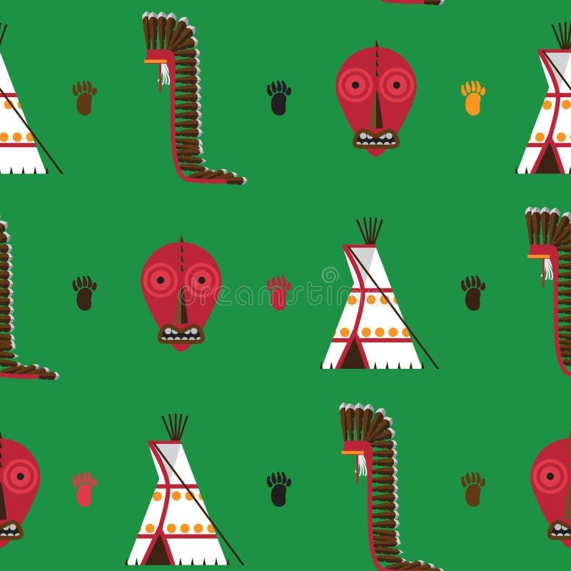 Безшовная картина с яркой ой-зелен предпосылкой Американское родное housware индейцев как tepee, ложный лицевой щиток гермошлема  иллюстрация штока