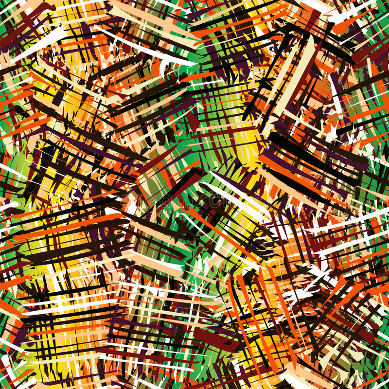 Безшовная картина с grunge striped хаотические квадратные красочные элементы иллюстрация штока