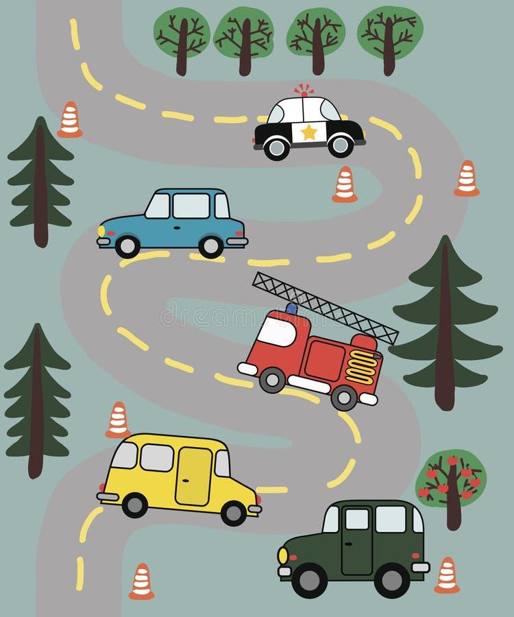 Безшовная картина с l автомобилями на дороге стоковые фотографии rf