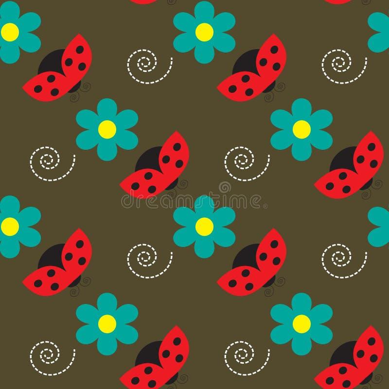 Безшовная картина с ladybugs и цветками на коричневой предпосылке бесплатная иллюстрация