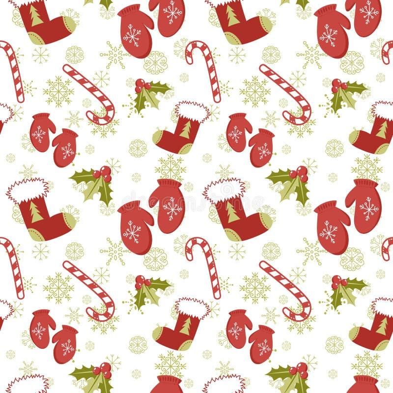 Безшовная картина с mittens рождества иллюстрация вектора