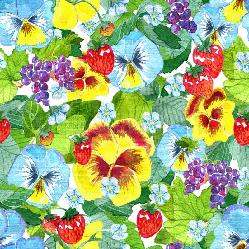 Безшовная картина с pansy сада цветет, листья клубники и ягоды, зрелая смородина на сини бесплатная иллюстрация