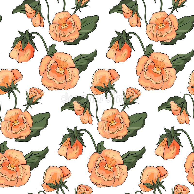 Безшовная картина с pansy цветет на предпосылке Уайта иллюстрация штока