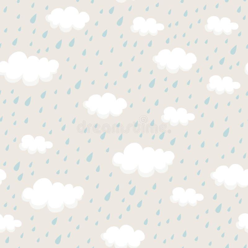 Безшовная картина с rainclouds и дождевыми каплями иллюстрация вектора
