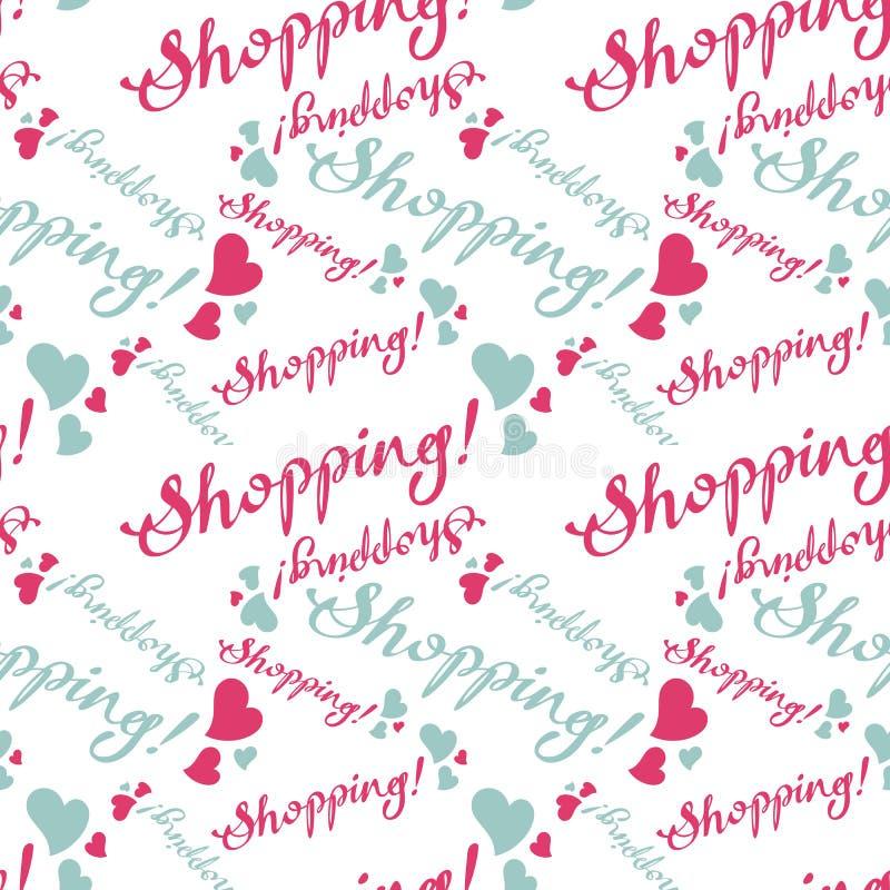 Безшовная картина с & x22; Shopping& x22; текст бесплатная иллюстрация