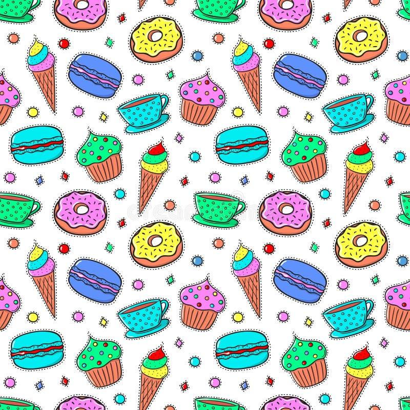 Безшовная картина с Sweets-04 иллюстрация штока