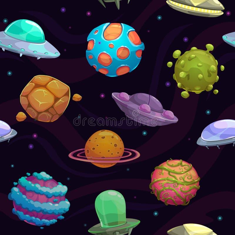 Безшовная картина с ufos и фантастическими планетами иллюстрация штока