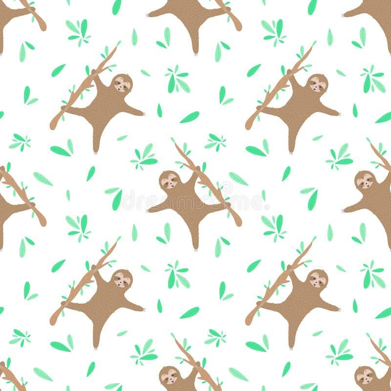 Безшовная картина танцуя леней и листьев Нарисованная вручную иллюстрация лени для детей, тропического лета, ткани, текстуры, бесплатная иллюстрация