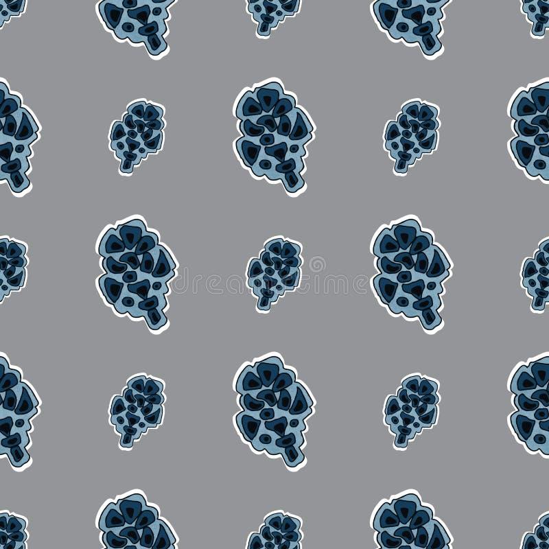 Безшовная картина текстуры с конусом и нашивками ели Использованный как фон, безшовная текстура бесплатная иллюстрация