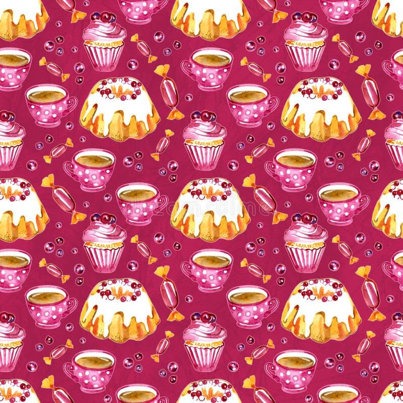 Безшовная картина торта, пирожного и клюквы Изображение десерта Иллюстрация акварели нарисованная рукой бело иллюстрация вектора