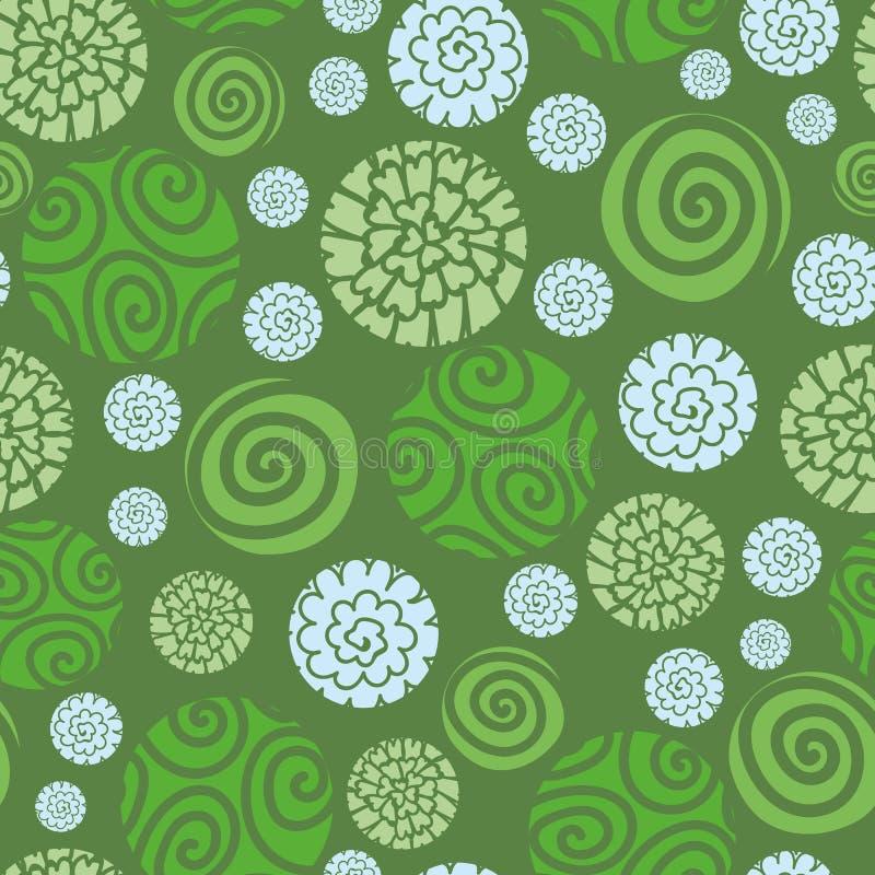 Безшовная картина точек польки вектора с круглое флористическим и спиралями бесплатная иллюстрация