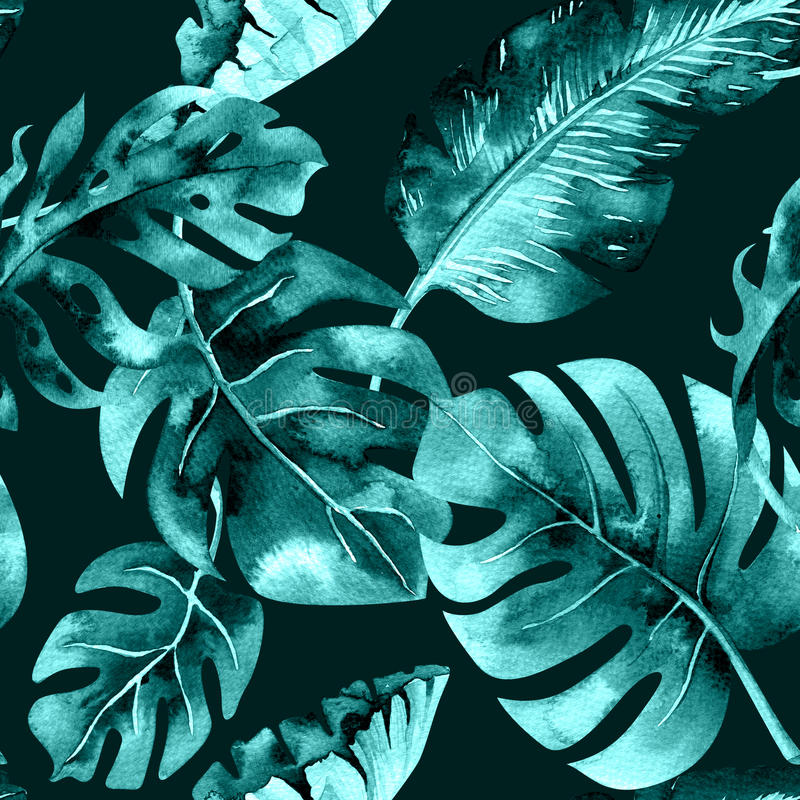 Безшовная картина тропических листьев, плотные джунгли акварели Ha иллюстрация штока