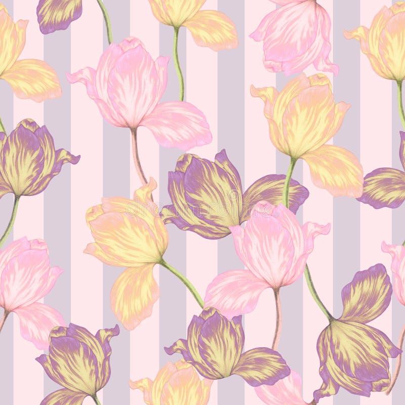 Безшовная картина тюльпанов нарисованных рукой иллюстрация вектора