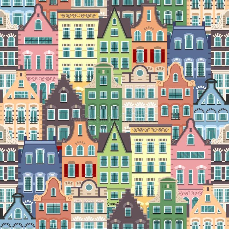 Безшовная картина фасадов домов Голландии старых иллюстрация вектора