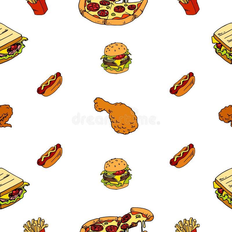 Безшовная картина фаст-фуда, пиццы, хот-дога, французского картофеля фри для вашего меню бесплатная иллюстрация