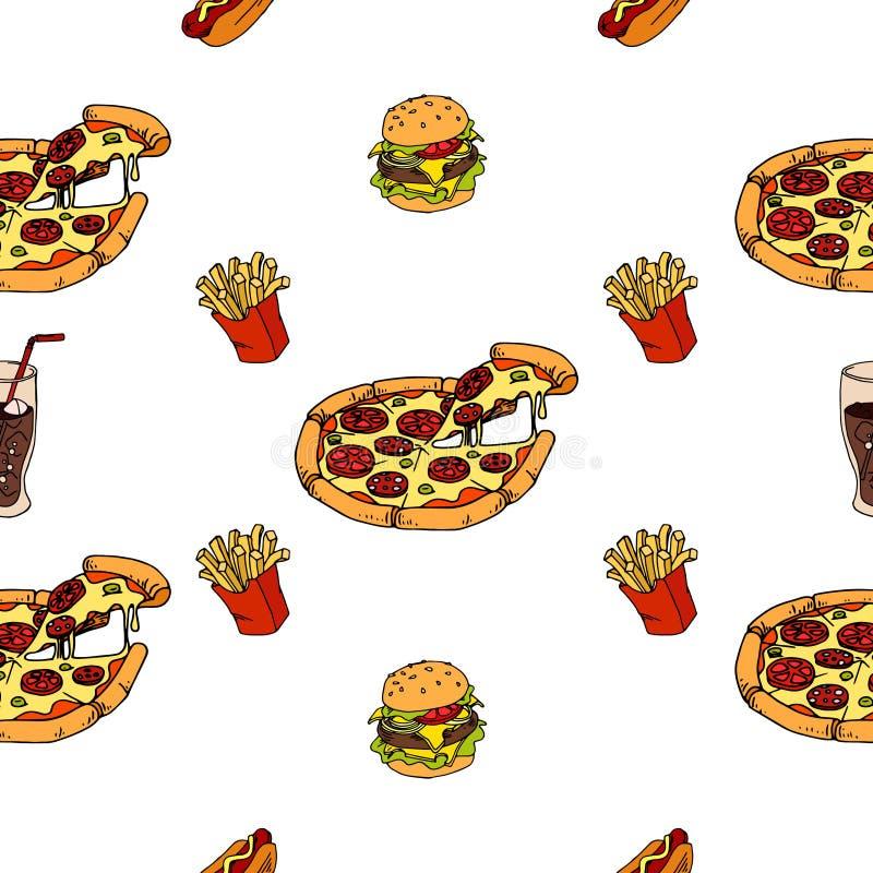 Безшовная картина фаст-фуда, пиццы, хот-дога, французского картофеля фри для вашего меню иллюстрация вектора