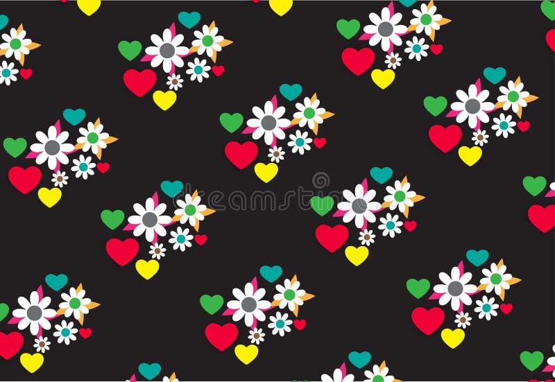 Безшовная картина флористических и сердец в черной предпосылке бесплатная иллюстрация