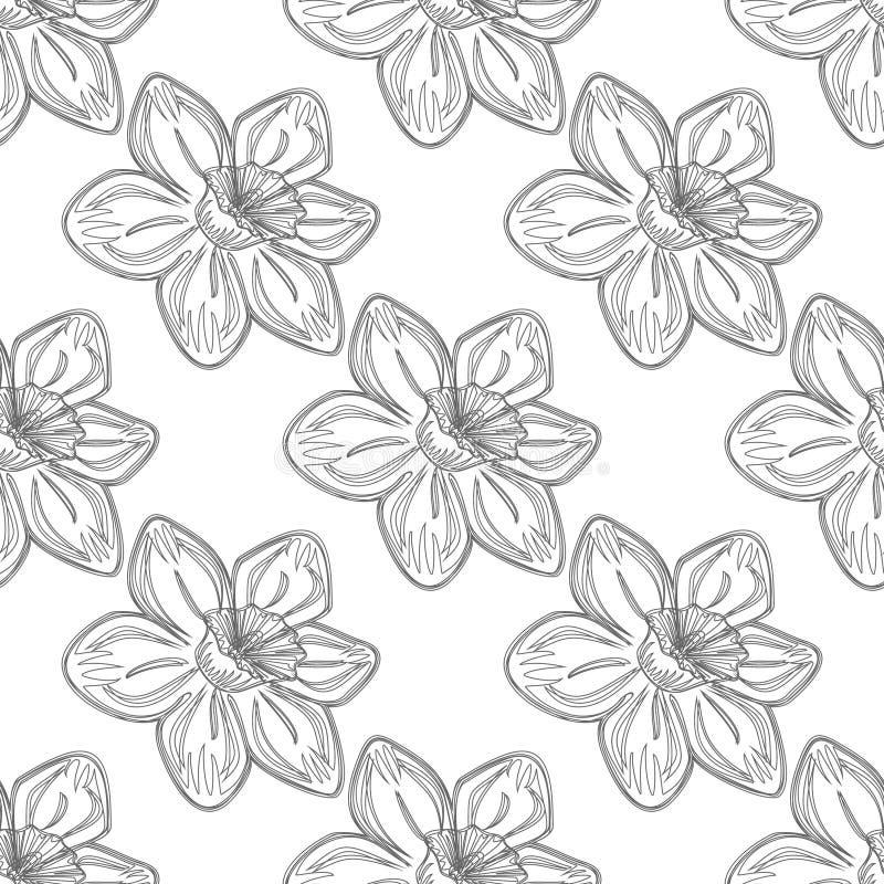 Безшовная картина цветка вектора, предпосылка с цветками, над серым фоном Линия чертеж бесплатная иллюстрация