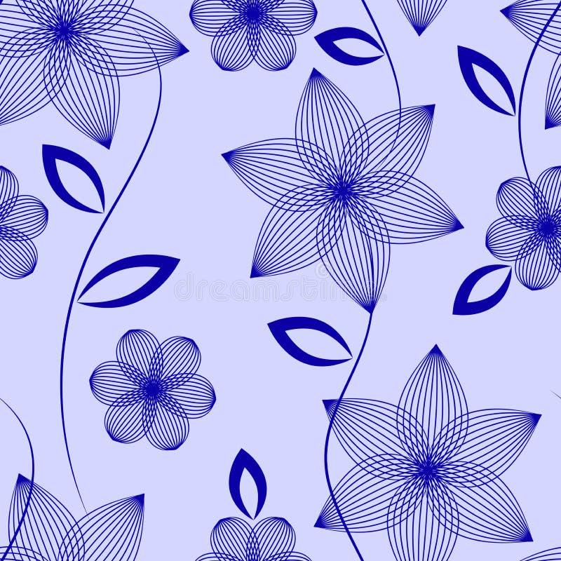 Безшовная картина цветков и листьев на голубой предпосылке иллюстрация вектора