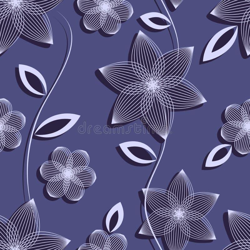 Безшовная картина цветков и листьев на темной пурпурной предпосылке иллюстрация вектора