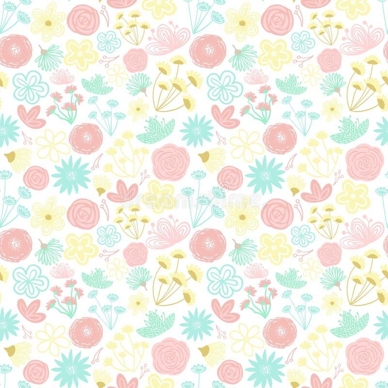 Безшовная картина цветков мультфильма нарисованных вручную пестротканых Иллюстрация в пастельных тенях для одежд, оболочек, подар иллюстрация вектора