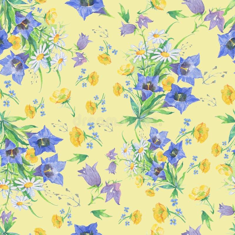 Безшовная картина цветков на желтой предпосылке иллюстрация штока