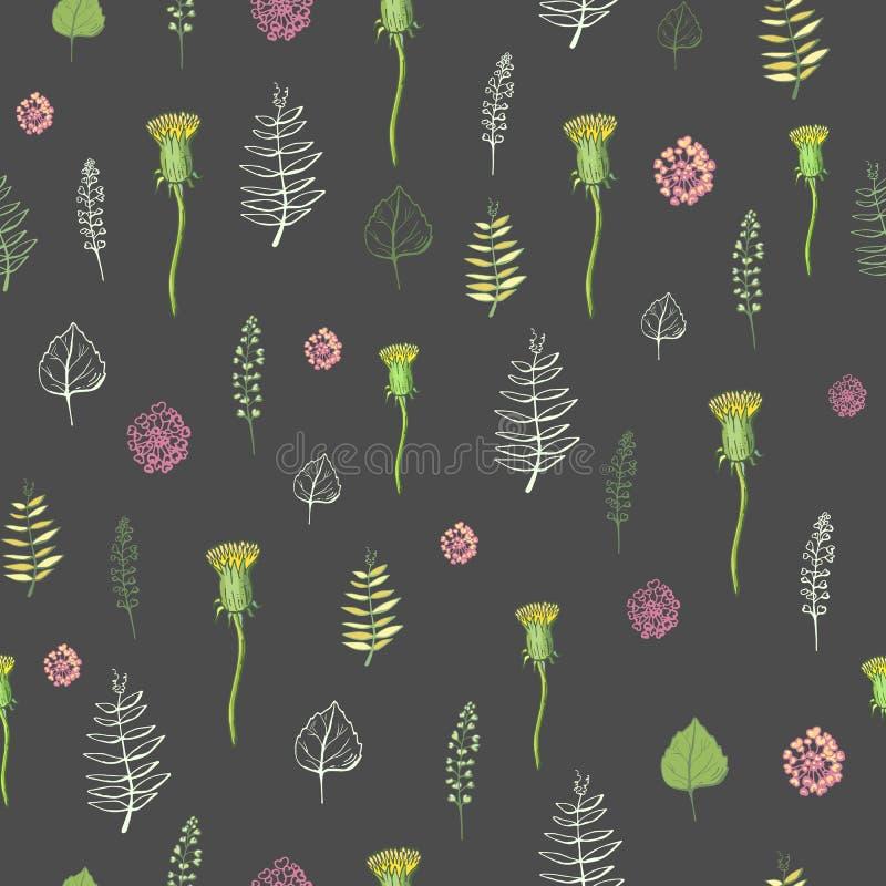 Безшовная картина цветков на темной предпосылке иллюстрация штока