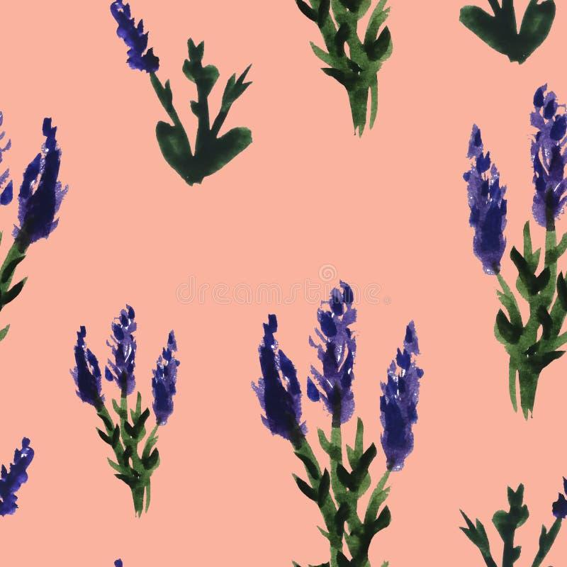 безшовная картина цветков покрасила акварель Красочные цветки, хворостины и листья r E бесплатная иллюстрация