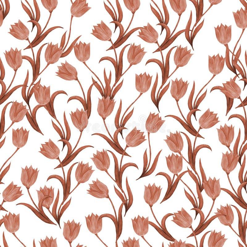 Безшовная картина цветков тюльпана на белой предпосылке r monochrome иллюстрация вектора