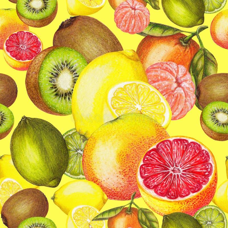 Безшовная картина цитруса и кивиа на желтой предпосылке бесплатная иллюстрация