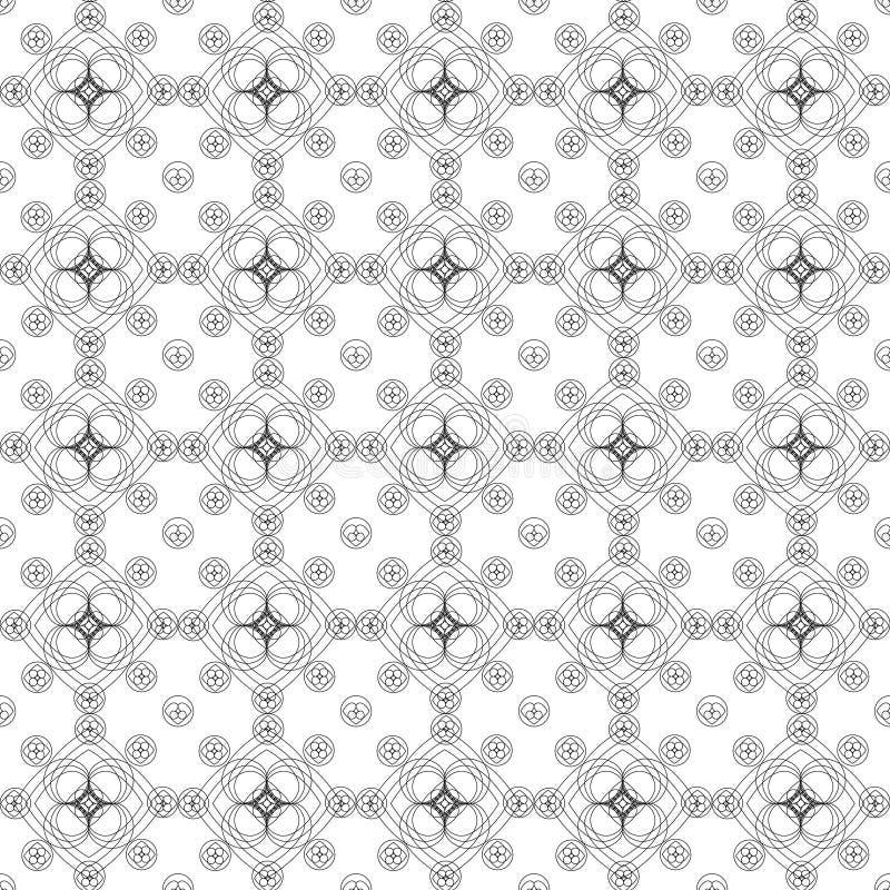 Безшовная картина черно-белых цветов от геометрических диаграмм нарисованных линиями контура на белой предпосылке бесплатная иллюстрация