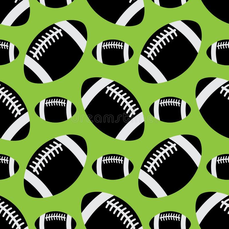Безшовная картина - черные шарики американского футбола иллюстрация вектора