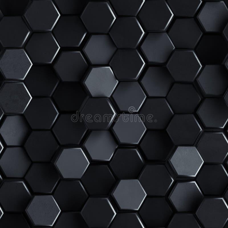 Безшовная картина черных конкретных шестиугольников 3D представить иллюстрация штока