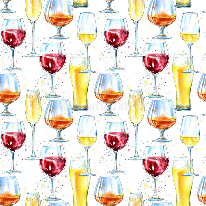 Безшовная картина шампанского, коньяка, вина, пива и стекла иллюстрация вектора