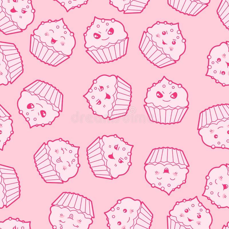 Безшовная картина шаржа kawaii с милыми пирожными иллюстрация вектора