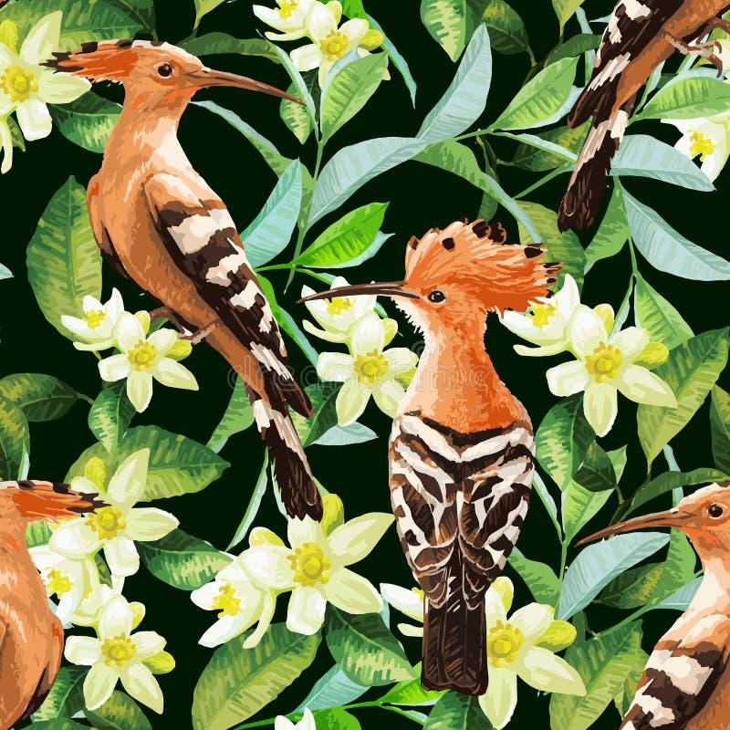 Безшовная картина экзотических птиц, лист и цветка иллюстрация вектора