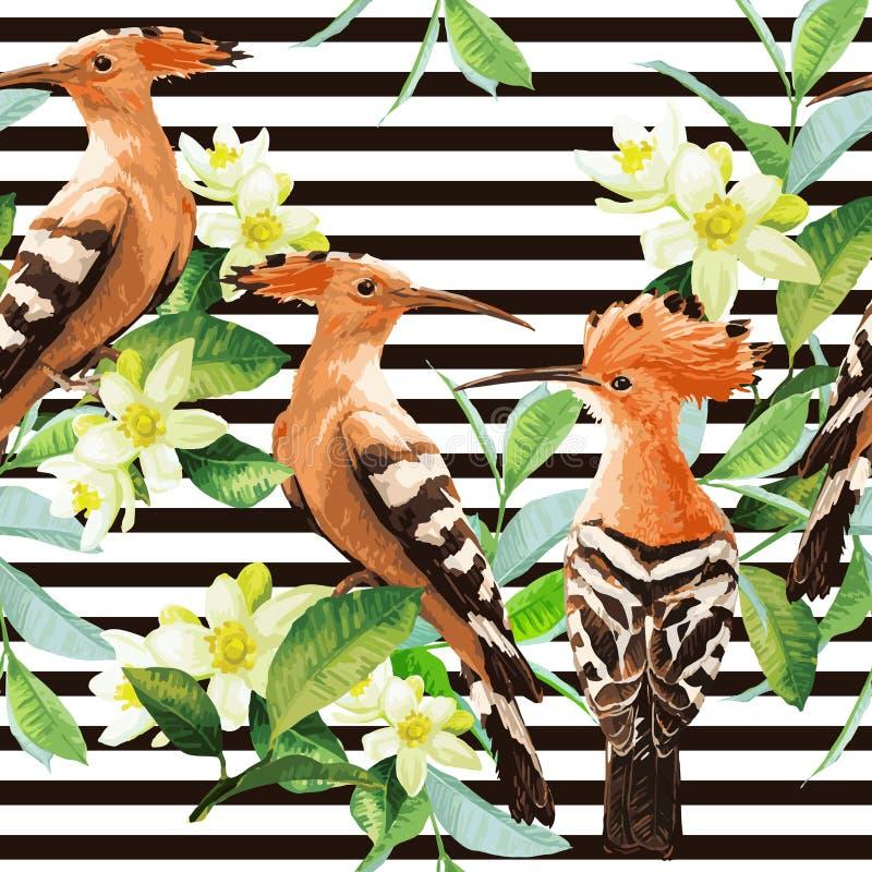 Безшовная картина экзотических птиц, лист и цветка иллюстрация штока