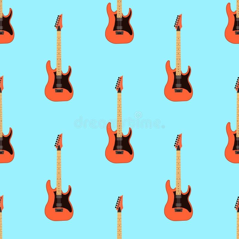 Безшовная картина электрической гитары на свете - голубой предпосылке Реальное содержание музыки души Плоская иллюстрация вектора иллюстрация вектора