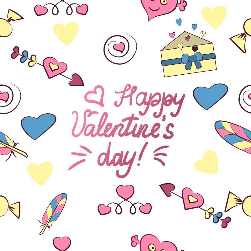 Безшовная картина элементов дня Валентайн s изолированных на белой предпосылке r Сердце, письмо, стрелка, конфета, перо, бесплатная иллюстрация