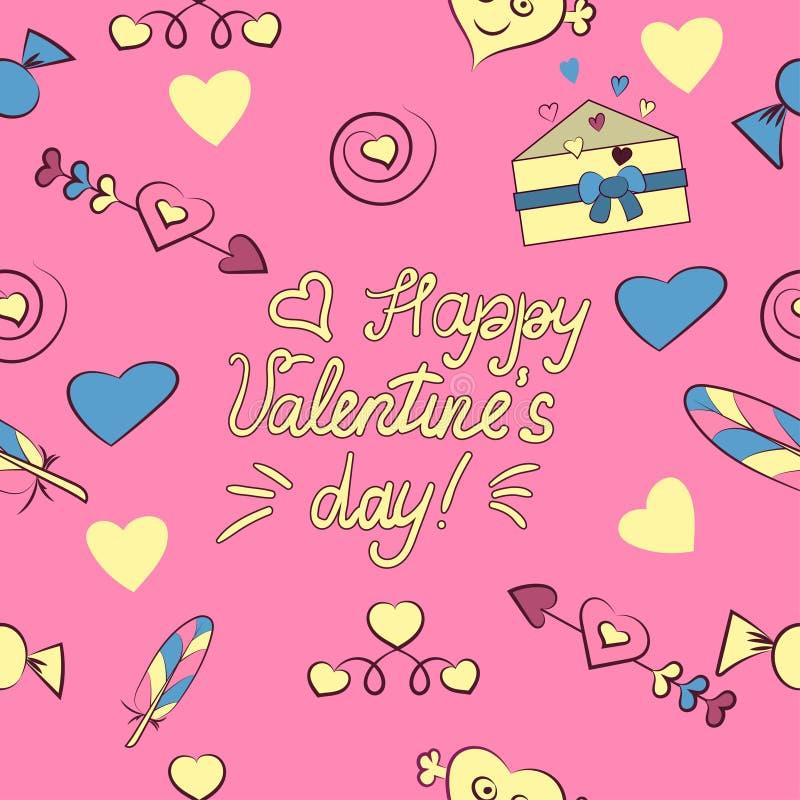 Безшовная картина элементов дня Валентайн s изолированных на розовой предпосылке r Сердце, письмо, стрелка, конфета, перо, бесплатная иллюстрация