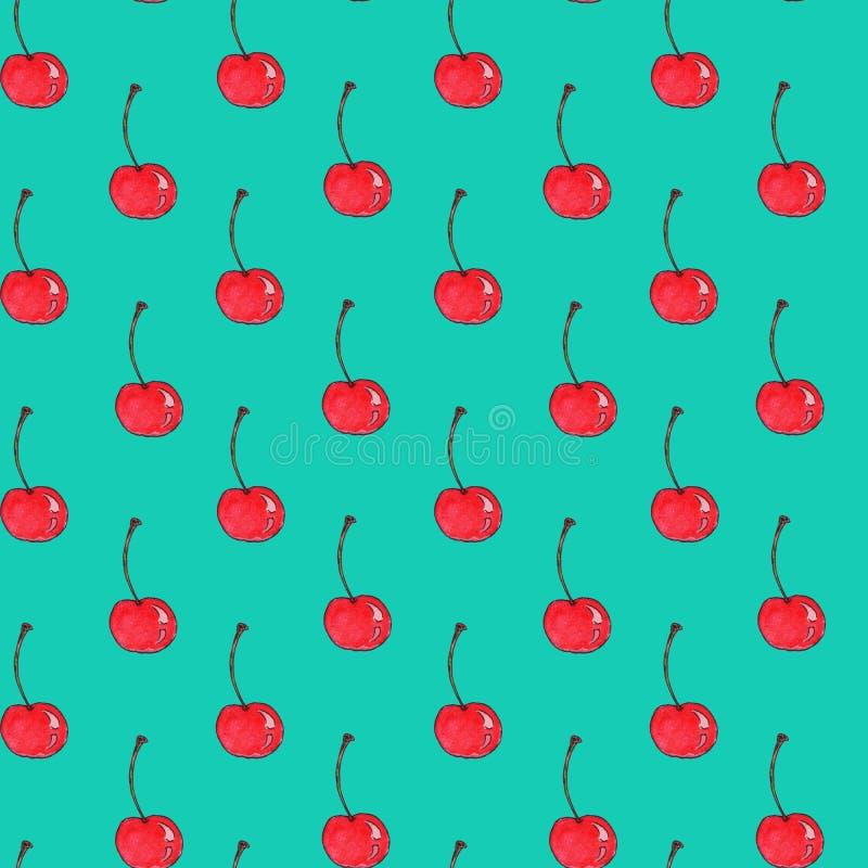 Безшовная картина ягоды вишни в славных ярких цветах Предпосылка акварели руки вычерченная на сини иллюстрация штока