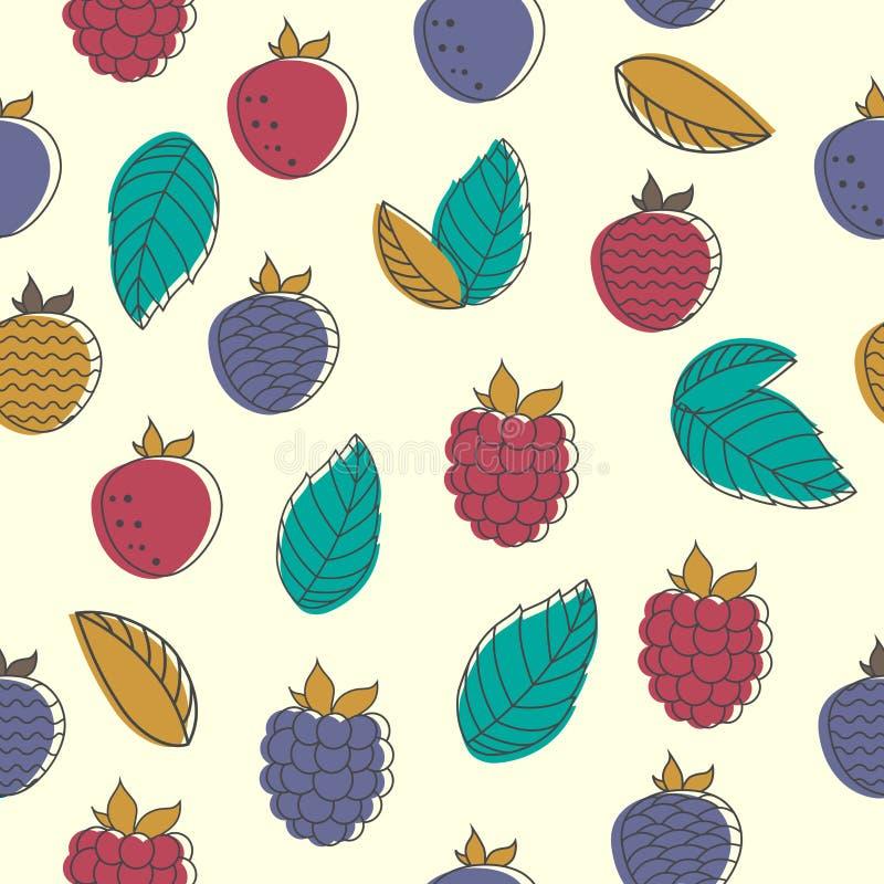 Безшовная картина ягод сада Абстрактные ягоды и листья на предпосылке цвета иллюстрация штока